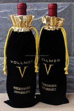 Factory custom Drawstring velvet wine pouch bags with custom printing