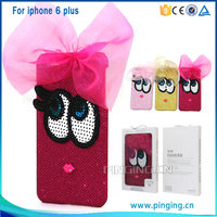 Luxury Cute oxeye bowknot ornament cell phone case for iphone 6 plus hard pc cover