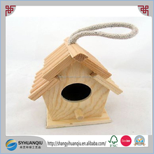 Hanging Ornament Little Wooden Miniature Wood Roof Bird House Spring Home Decor