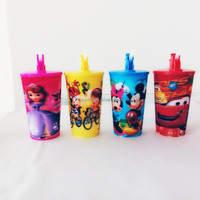 560ml 20 oz PP Plastic 3D lenticular cup with lid and straw