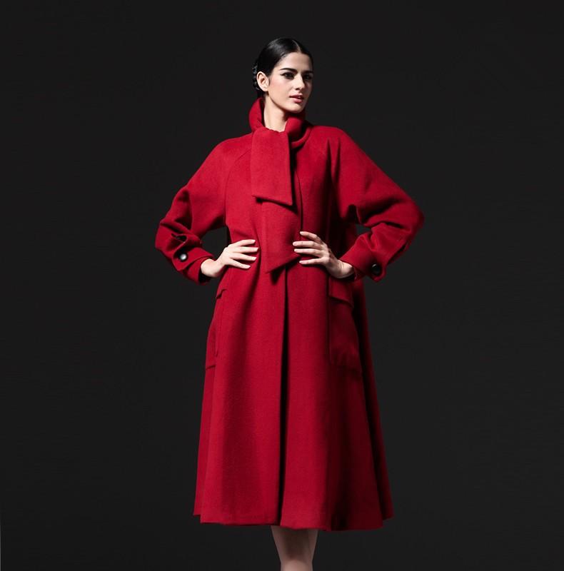 women's winter woollen coat wool x-long women a-line coats jackets new 2014 female mandarin collar long sleeve EMS freeshipping