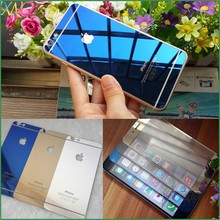 Full coverage colorful Screen Protector plating tempered glass film for IPHONE 6 PLUS front and back mirror protective film