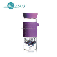 Patented Design 400ml borosilicate glass cup with honeycomb strainer w silicon lid and sleeve JA445
