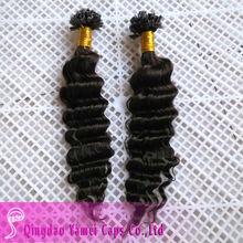 Venta al por mayor plumas brasileño profunda onda del pelo del clavo extensiones de cabello punta( ym- w- 184)