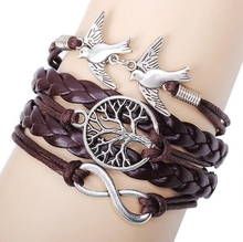Handmade Tree of Life Double Birds Lobster Closure Alloy Bracelet Braided Multi Dnut chain Bracelet