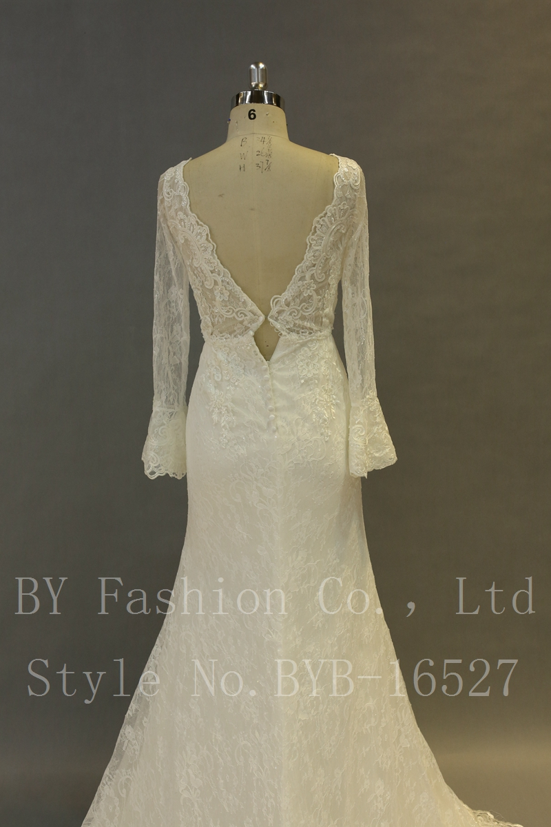 White Satin Lace Bell Sleeve Wedding Dresses - Buy Lace Top Wedding ...