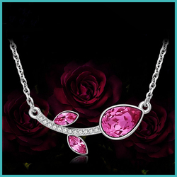 Friendship Energy jewelry S925 silver rose crystal necklace