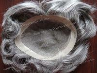 wholesale price 8inch gray Brazilian hair toupee