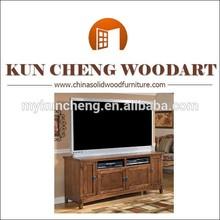 Condado esquina soporte de la tv, Planked final de la cereza del equipamiento casero mejor material de madera