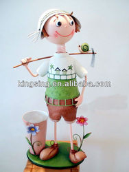 Outdoor Decoration Metal Doll Flower Pots