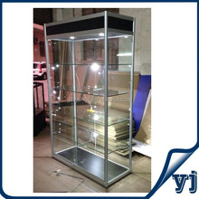 Lighted Glass shoes display case, glass window display showcase with LED lights