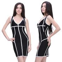 hot selling sexy deep v short black tight women party evening dresses