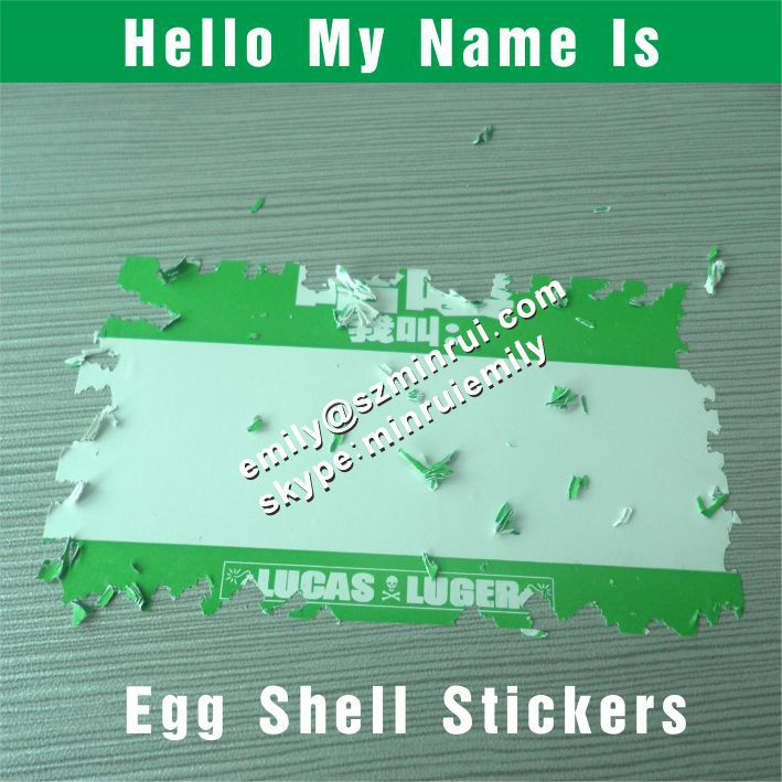 Custom Breakable Blank Eggshell Sticker Sheets Stickers With Red Borders