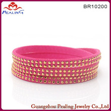Fashion leather velvet jewelry crystal slake bracelet with magnetic alloy clasp for girl