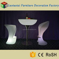 glass top round led bar table for party, wedding, events