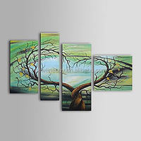 100% Hand-painted abstract Green tree modern Decor Painting landscape wall art on canvas - Set of 5 piece canvas art