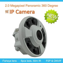 Good quality 2.0Megapixel SWDR Panoramic IR Dome 1080P IP surveillan Camera , With 360 degree viewing angle, support P2P ONVIF