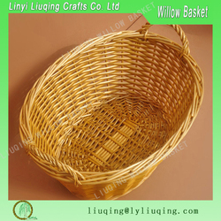 Factory wholesale oval honey willow/wicker basket fruit/vegetable storage basket with handles