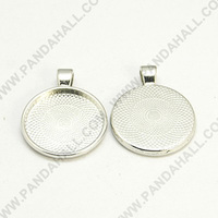25mm Round Tray Pendant Cabochon Settings, Platinum Color, Lead Free & Cadmium Free & Nickel Free(PALLOY-A15654-N-NF)