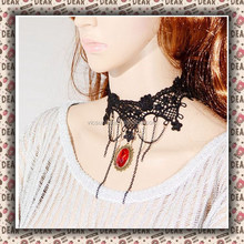 XLL-002 YiWu Caddy fashional Ruby pendant collarbone tassel necklace,lace necklace