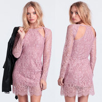 2015 new design long sleeve ladies lace dresses, sprin summer western party cocktail dress for women
