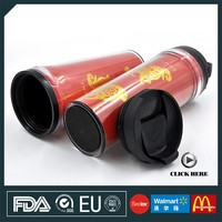 Hot Sales 350ML double wall plastic promotional thermal travel coffee mug with insert paper
