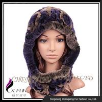 CX-C-193B New Style Rex Rabbit Fur Hat Hat Scarf Attached