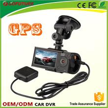2015 new car dash camera/dual lens gps car cam/dual camera dash cam