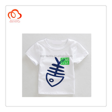 Short sleeve plain white T shirts WITH animal printing Kids clothings