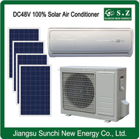 DC48V variable speed hot weather off grid home solar air conditioners with heat