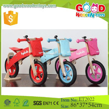 2015 New colorful and fashion design wooden kid running bike, wooden balance bike with bucket