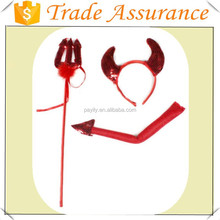 Wholesale Halloween red devil Headband tail bowtie Halloween Party Set