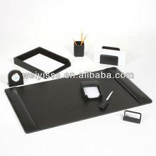 Black Leather 8 Piece Desk Set