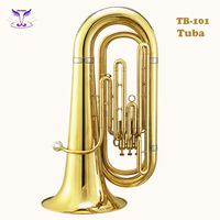 Gold lacquer brass musical instruments children tuba hot selling on line