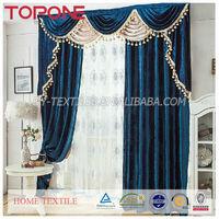 Fashion design elegant high quality dark blue pleuche oem useful new curtain models