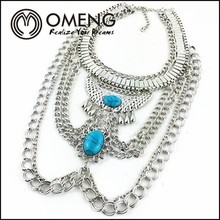 2015 multi-layer wholesale chain necklaces gemstone cheap price