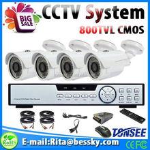 Guardia de seguridad uniformes, 1000 tvl hd cámara cctv 4ch dvr kits de interruptores de luz, grabador de vídeo automático
