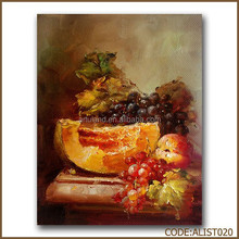 Still life fruit oil painting of hami melon and peach