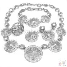 Moda de prata banhado cobre liga colar de jóias conjunto de Design de jóias nupcial africano