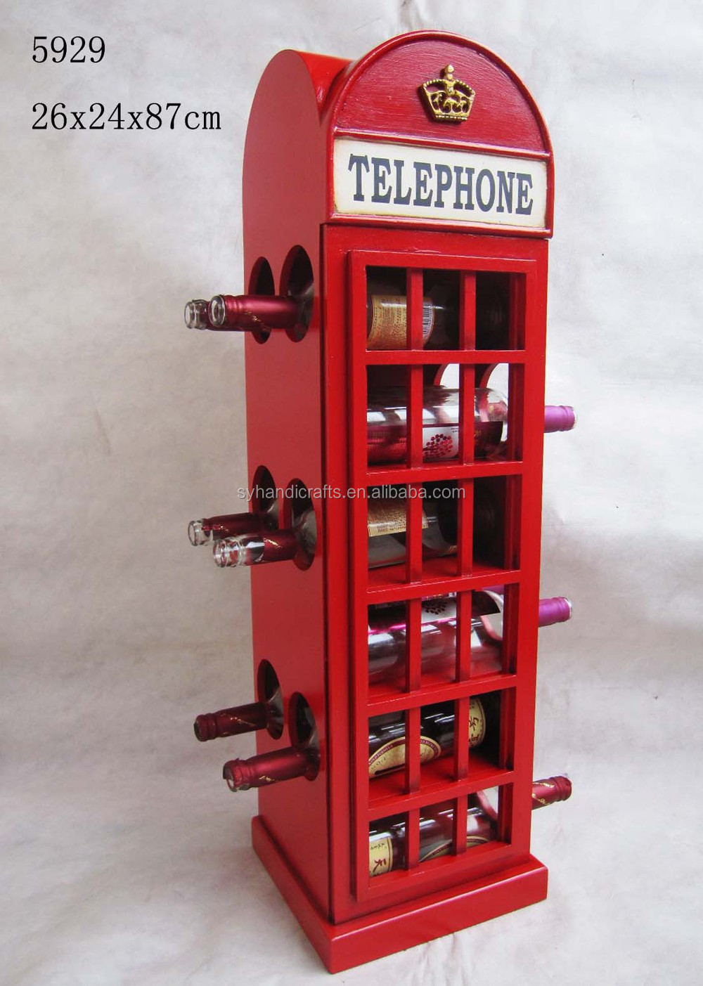 Home Furniture Wine Rack Vintage Classic Red London Telephone Booth Wood Wine Rack Cabinet For