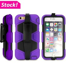 Combo Hard Ribbed Case Belt Clip Holster Stand Cover For iPhone 6 Plus