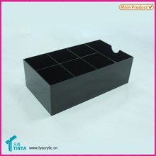 Factory Wholesale Glossy Black Plastic Four Compartment Utensil Organizers