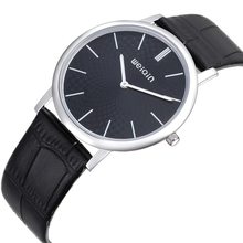 Genuine leather strap stainless steel case ultra thin watch unisex