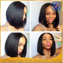 100% virgin indian human hair lace front straight wigs for small heads