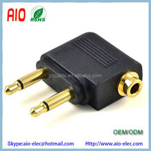Gold Plated Airplane Headphone Audio Converter Adapter For Double 3.5mm Mono Plug To 3.5mm Dual Channel Stereo Jack