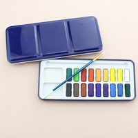 18 colors DIY cake set dry watercolor paint set with paint brush and blue metal box