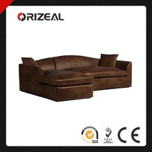 ORIZEAL ANTIQUE BELGIAN CAMELBACK GENUINE LEATHER SINGLE SOFA CHAISE LOUNGE (OZ-LS-2005)