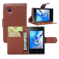 Fashion Litchi Pattern Lychee design Credit Card Wallet Stand Flip leather case for LG T585