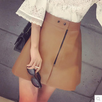 2015 New Women fashion skirt with High quality brown PU leather in Yiwu