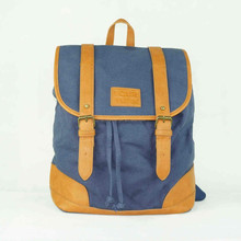 Top sale navy blue drawstring canvas cotton fabric boys graceful backpack school bag Guangzhou manufacturer